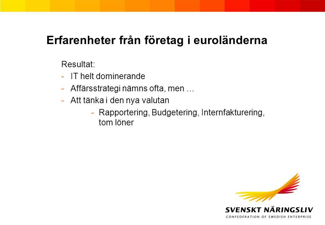Erfarenheter från företag i euroländerna Resultat: -IT helt dominerande -Affärsstrategi nämns ofta, men … -Att tänka i den nya valutan -Rapportering, Budgetering, Internfakturering, tom löner