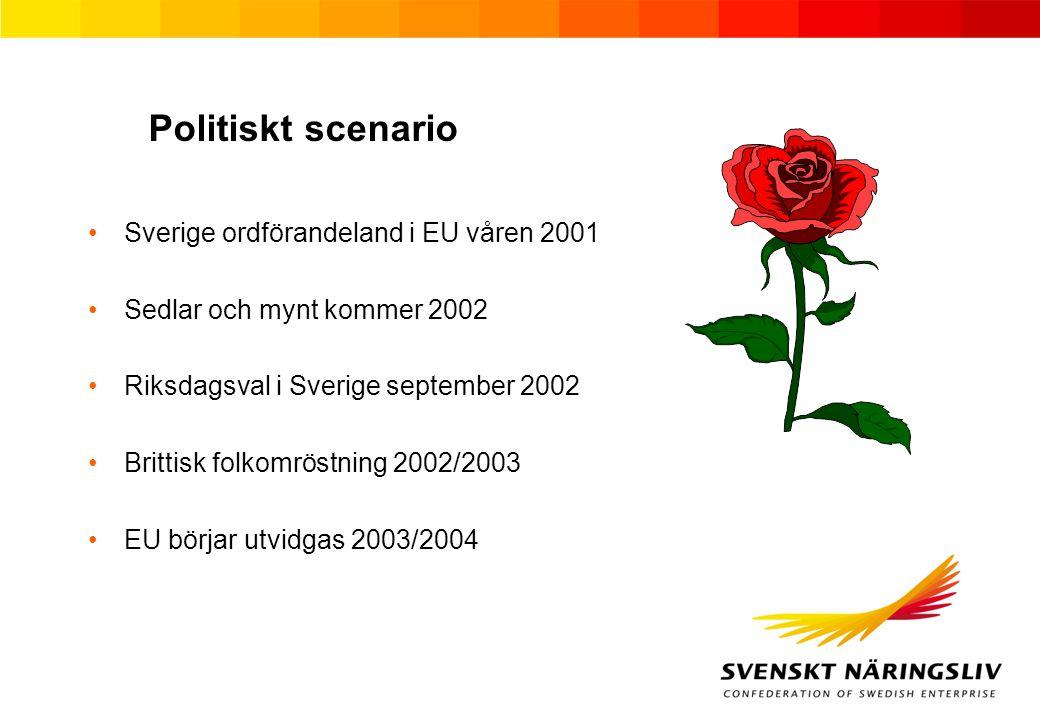 Politiskt scenario Sverige ordförandeland i EU våren 2001 Sedlar och mynt kommer 2002 Riksdagsval i Sverige september 2002 Brittisk folkomröstning 2002/2003 EU börjar utvidgas 2003/2004