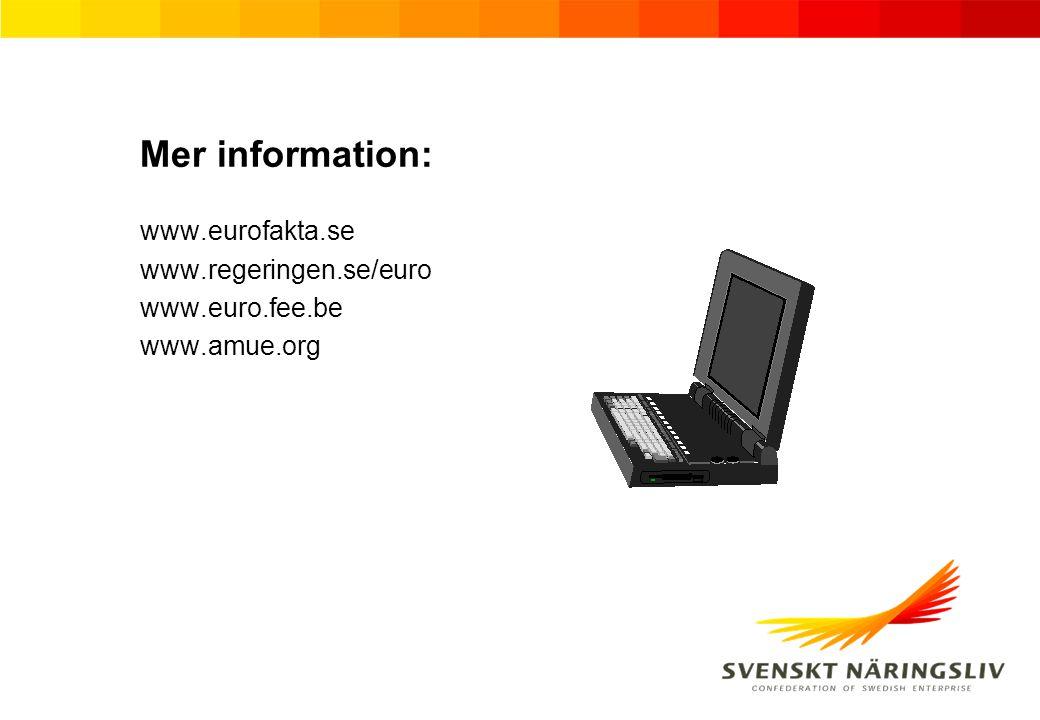 Mer information: www.eurofakta.se www.regeringen.se/euro www.euro.fee.be www.amue.org