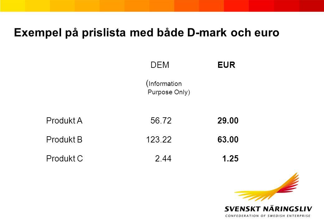 Exempel på prislista med både D-mark och euro DEMEUR ( Information Purpose Only) Produkt A 56.7229.00 Produkt B123.2263.00 Produkt C 2.44 1.25
