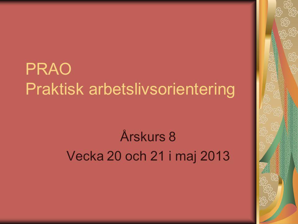 PRAO Praktisk arbetslivsorientering Årskurs 8 Vecka 20 och 21 i maj 2013