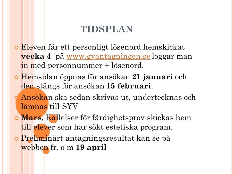 TIDSPLAN Eleven får ett personligt lösenord hemskickat vecka 4 på www.gyantagningen.se loggar man in med personnummer + lösenord.www.gyantagningen.se