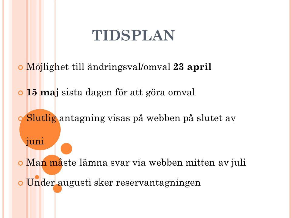 TIDSPLAN Möjlighet till ändringsval/omval 23 april 15 maj sista dagen för att göra omval Slutlig antagning visas på webben på slutet av juni Man måste