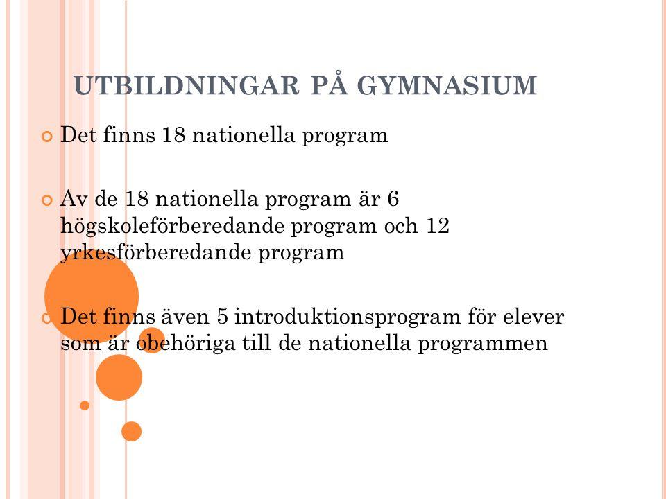 UTBILDNINGAR PÅ GYMNASIUM Det finns 18 nationella program Av de 18 nationella program är 6 högskoleförberedande program och 12 yrkesförberedande progr