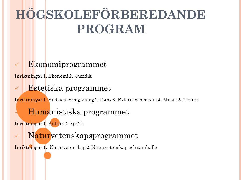 HÖGSKOLEFÖRBEREDANDE PROGRAM Ekonomiprogrammet Inriktningar 1. Ekonomi 2. Juridik Estetiska programmet Inriktningar 1. Bild och formgivning 2. Dans 3.