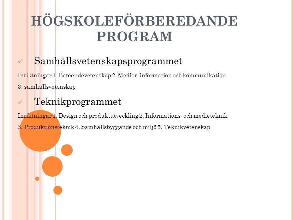 HÖGSKOLEFÖRBEREDANDE PROGRAM Samhällsvetenskapsprogrammet Inriktningar 1. Beteendevetenskap 2. Medier, information och kommunikation 3. samhällsvetens