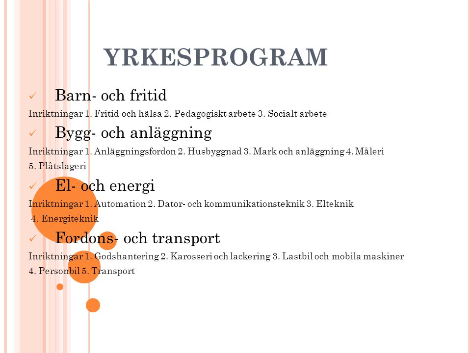 YRKESPROGRAM Handels- och administration Inriktningar 1.