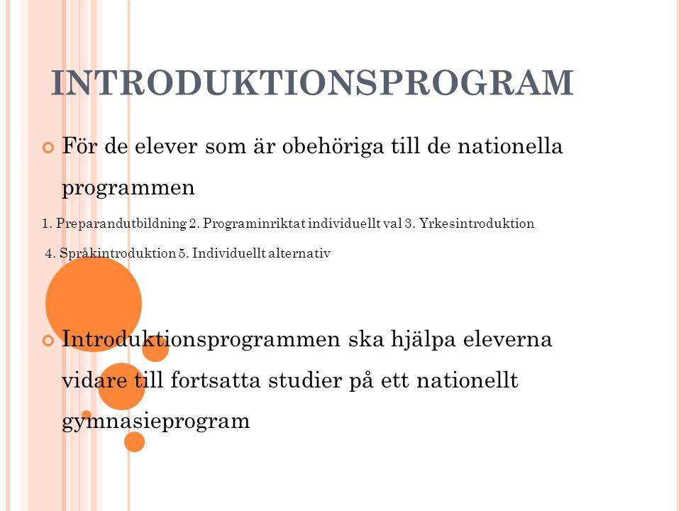 INTRODUKTIONSPROGRAM För de elever som är obehöriga till de nationella programmen 1. Preparandutbildning 2. Programinriktat individuellt val 3. Yrkesi