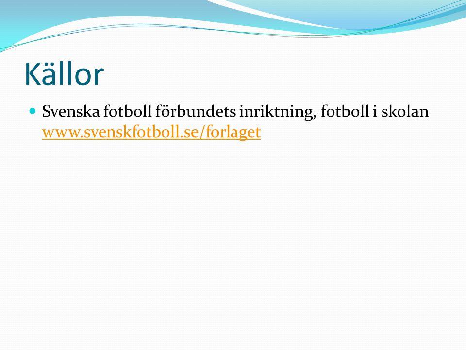 Källor Svenska fotboll förbundets inriktning, fotboll i skolan www.svenskfotboll.se/forlaget www.svenskfotboll.se/forlaget