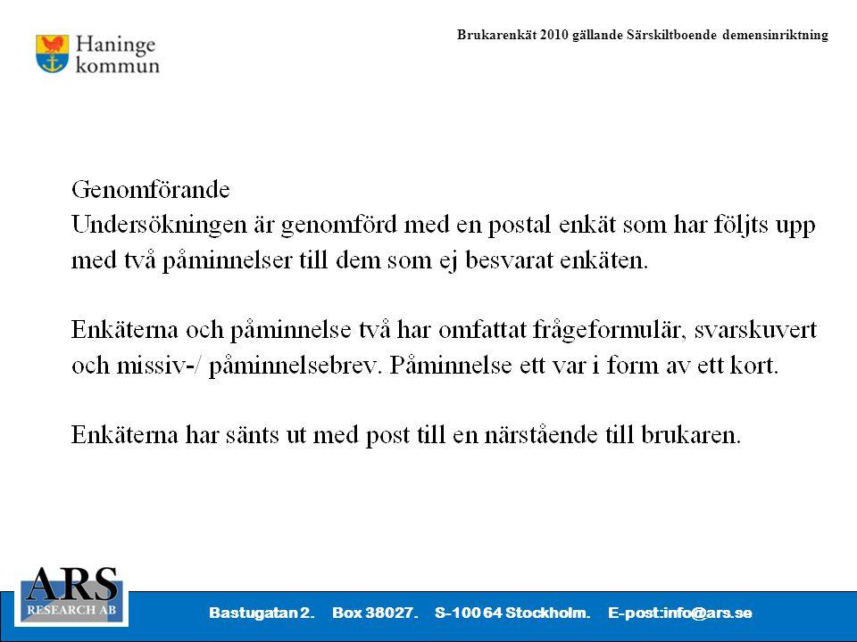 Bastugatan 2. Box 38027. S-100 64 Stockholm. E-post:info@ars.se Brukarenkät 2010 gällande Särskiltboende demensinriktning