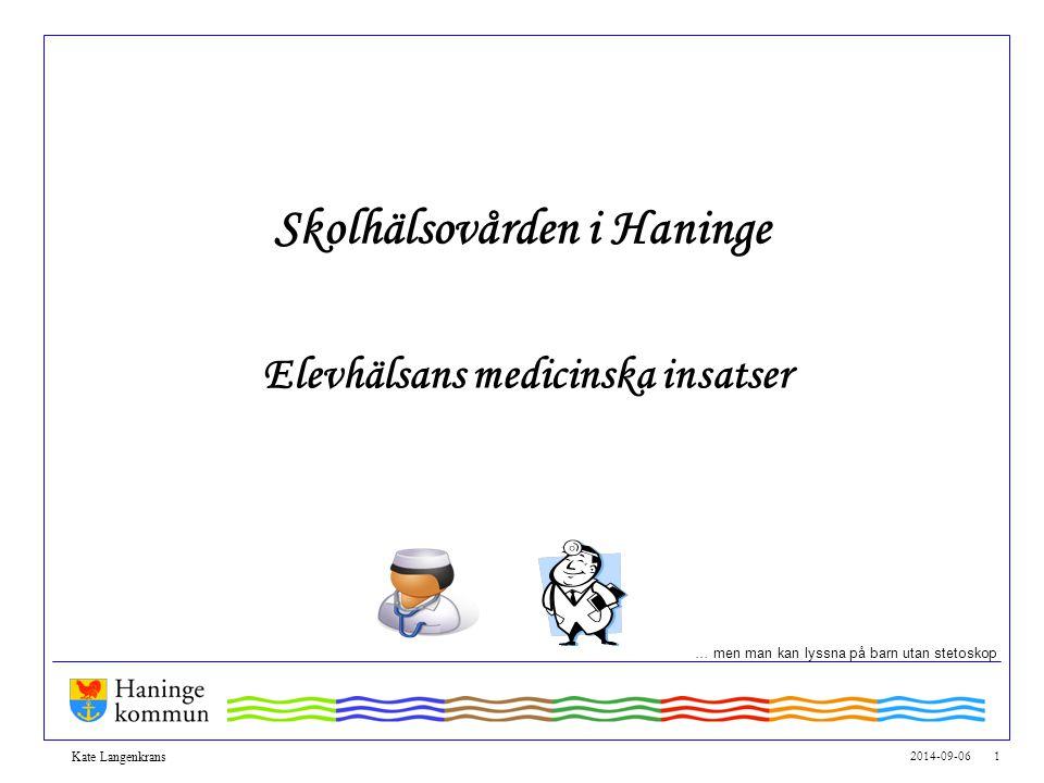 2014-09-06 1 Kate Langenkrans Skolhälsovården i Haninge Elevhälsans medicinska insatser … men man kan lyssna på barn utan stetoskop