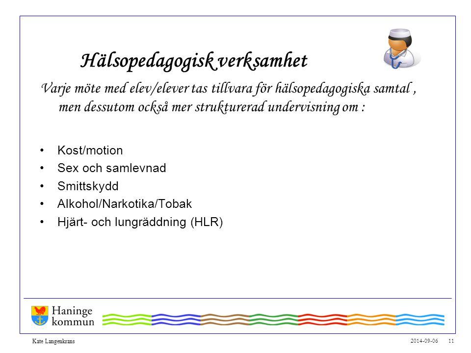 2014-09-06 11 Kate Langenkrans Hälsopedagogisk verksamhet Varje möte med elev/elever tas tillvara för hälsopedagogiska samtal, men dessutom också mer