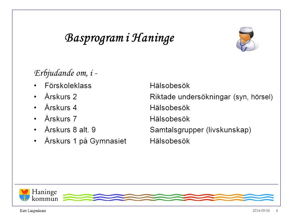2014-09-06 6 Kate Langenkrans Basprogram i Haninge Erbjudande om, i - FörskoleklassHälsobesök Årskurs 2Riktade undersökningar ( syn, hörsel) Årskurs 4
