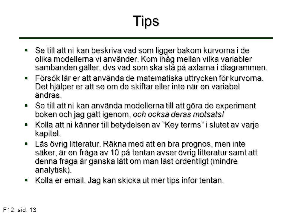 F12: sid. 13 Tips  Se till att ni kan beskriva vad som ligger bakom kurvorna i de olika modellerna vi använder. Kom ihåg mellan vilka variabler samba