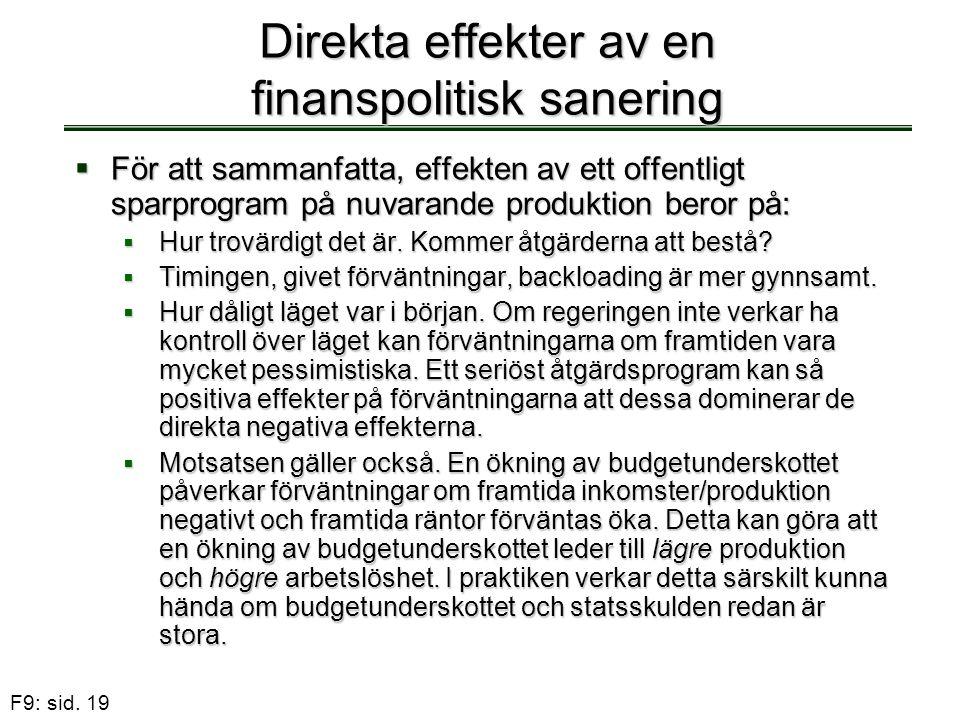 F9: sid. 19 Direkta effekter av en finanspolitisk sanering  För att sammanfatta, effekten av ett offentligt sparprogram på nuvarande produktion beror