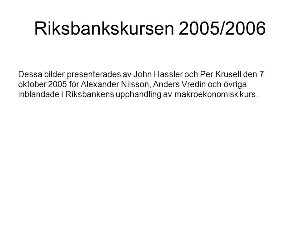 Riksbankskursen 2005/2006 Dessa bilder presenterades av John Hassler och Per Krusell den 7 oktober 2005 för Alexander Nilsson, Anders Vredin och övriga inblandade i Riksbankens upphandling av makroekonomisk kurs.