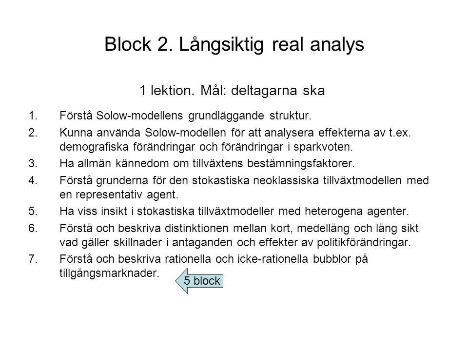 Block 2.Långsiktig real analys 1.Förstå Solow-modellens grundläggande struktur.