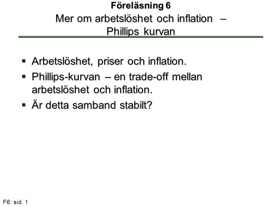 F6: sid. 1 Föreläsning 6 Mer om arbetslöshet och inflation – Phillips kurvan  Arbetslöshet, priser och inflation.  Phillips-kurvan – en trade-off me