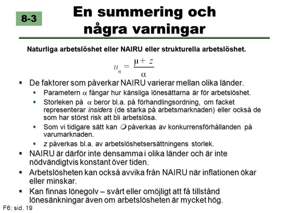 F6: sid. 19 En summering och några varningar  De faktorer som påverkar NAIRU varierar mellan olika länder.  Parametern  fångar hur känsliga lönesät