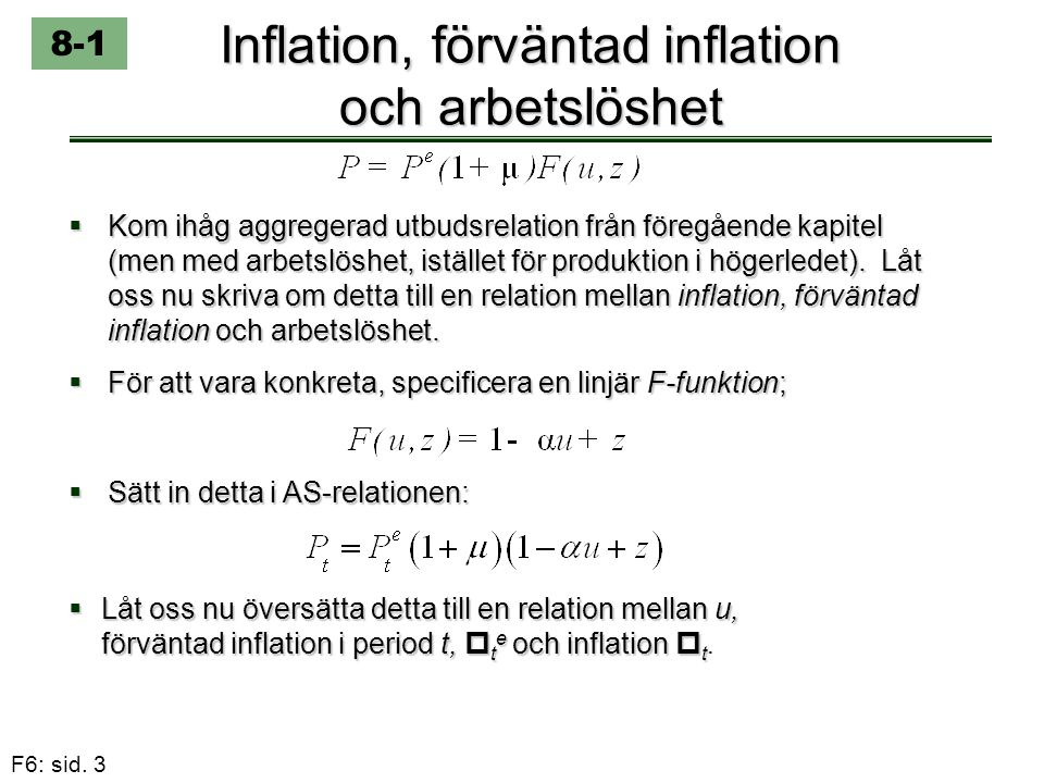 F6: sid. 3 Inflation, förväntad inflation och arbetslöshet  Kom ihåg aggregerad utbudsrelation från föregående kapitel (men med arbetslöshet, iställe