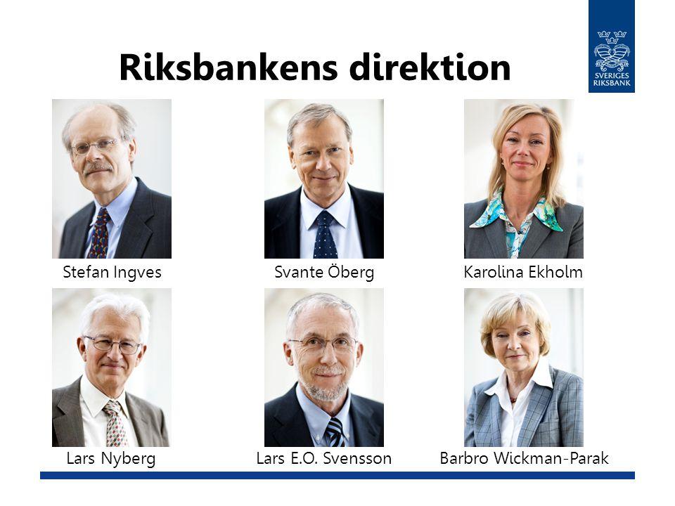 Riksbankens direktion Stefan IngvesKarolina Ekholm Barbro Wickman-ParakLars NybergLars E.O. Svensson Svante Öberg