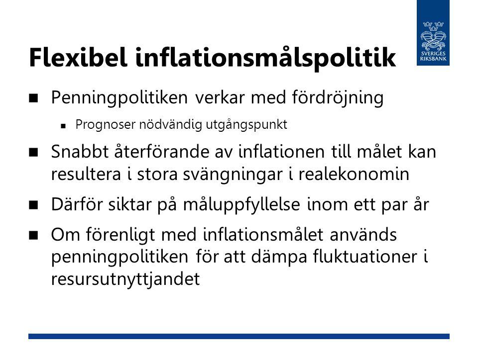 Flexibel inflationsmålspolitik Penningpolitiken verkar med fördröjning Prognoser nödvändig utgångspunkt Snabbt återförande av inflationen till målet k