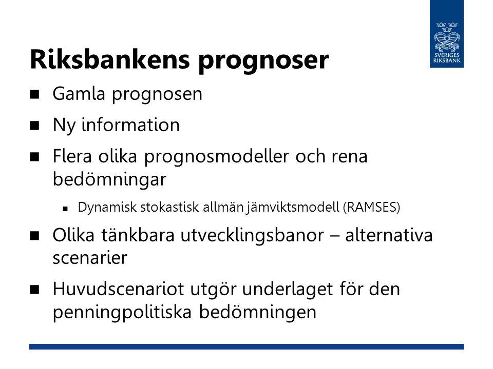 Riksbankens prognoser Gamla prognosen Ny information Flera olika prognosmodeller och rena bedömningar Dynamisk stokastisk allmän jämviktsmodell (RAMSES) Olika tänkbara utvecklingsbanor – alternativa scenarier Huvudscenariot utgör underlaget för den penningpolitiska bedömningen