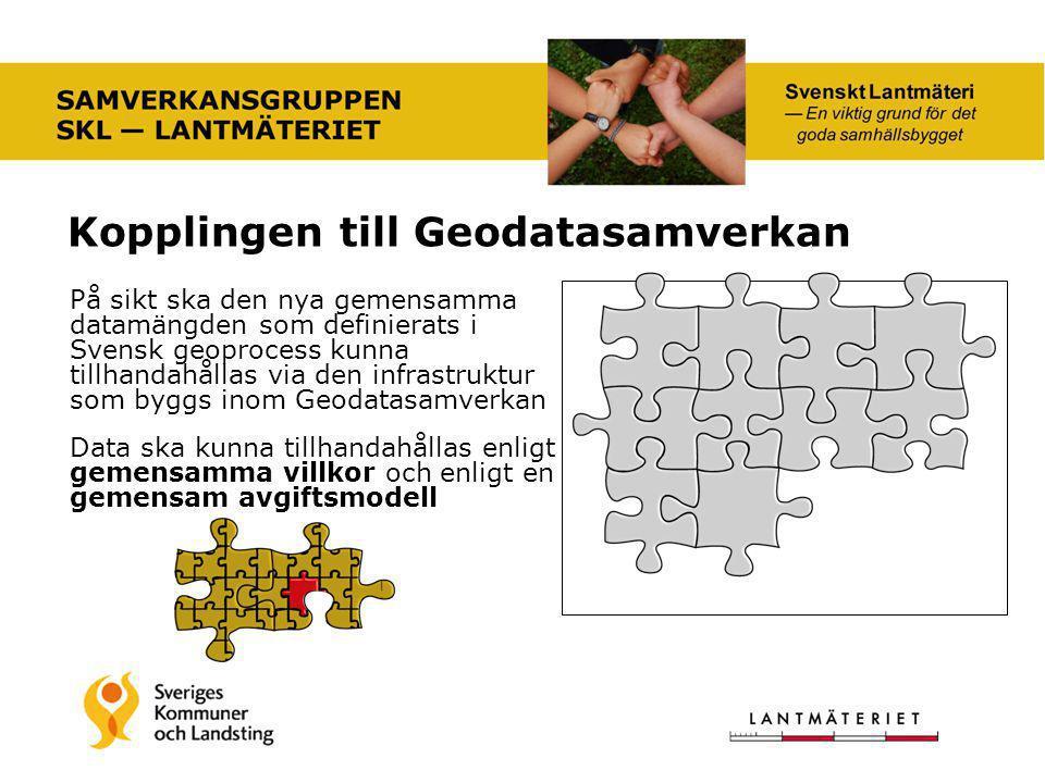 Kopplingen till Geodatasamverkan På sikt ska den nya gemensamma datamängden som definierats i Svensk geoprocess kunna tillhandahållas via den infrastr