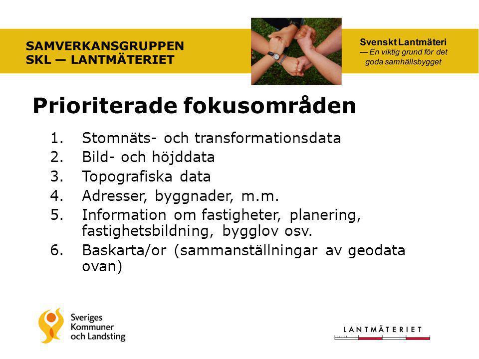 1.Stomnäts- och transformationsdata 2.Bild- och höjddata 3.Topografiska data 4.Adresser, byggnader, m.m. 5.Information om fastigheter, planering, fast