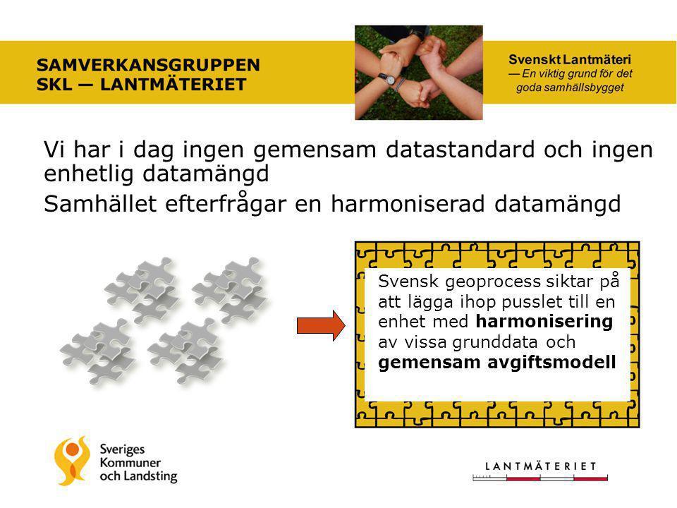 Vi har i dag ingen gemensam datastandard och ingen enhetlig datamängd Samhället efterfrågar en harmoniserad datamängd Svensk geoprocess siktar på att lägga ihop pusslet till en enhet med harmonisering av vissa grunddata och gemensam avgiftsmodell