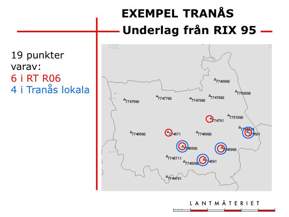 Tranås lokalt RT R06 6 punkter RMS 12 mm max.fel 18 mm 4 punkter RMS 76 mm max.fel 102 mm Inpassningar på RIX 95-underlaget
