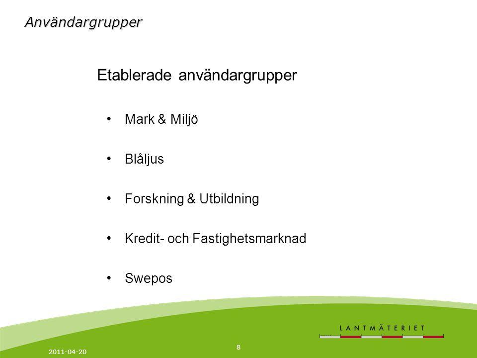 2011-04-20 8 Etablerade användargrupper Mark & Miljö Blåljus Forskning & Utbildning Kredit- och Fastighetsmarknad Swepos Användargrupper