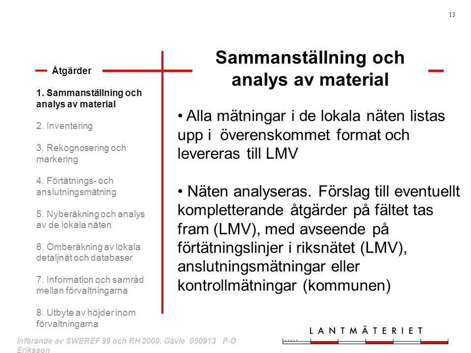 13 Införande av SWEREF 99 och RH 2000, Gävle 050913 P-O Eriksson Sammanställning och analys av material 1. Sammanställning och analys av material 2. I