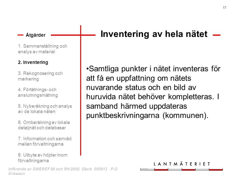15 Införande av SWEREF 99 och RH 2000, Gävle 050913 P-O Eriksson Inventering av hela nätet Åtgärder Samtliga punkter i nätet inventeras för att få en
