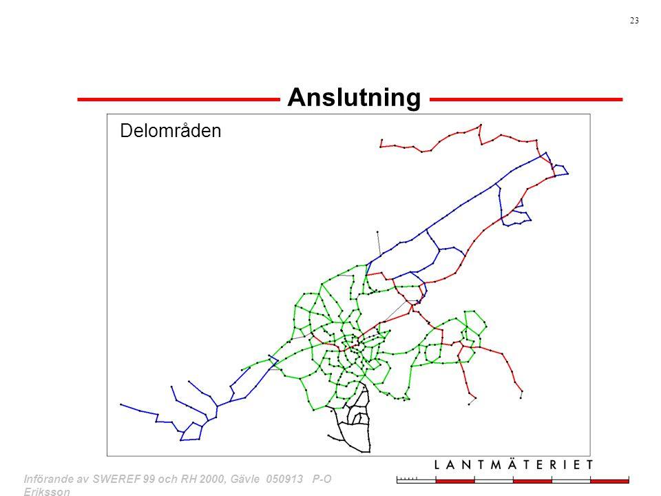 23 Införande av SWEREF 99 och RH 2000, Gävle 050913 P-O Eriksson Anslutning Delområden
