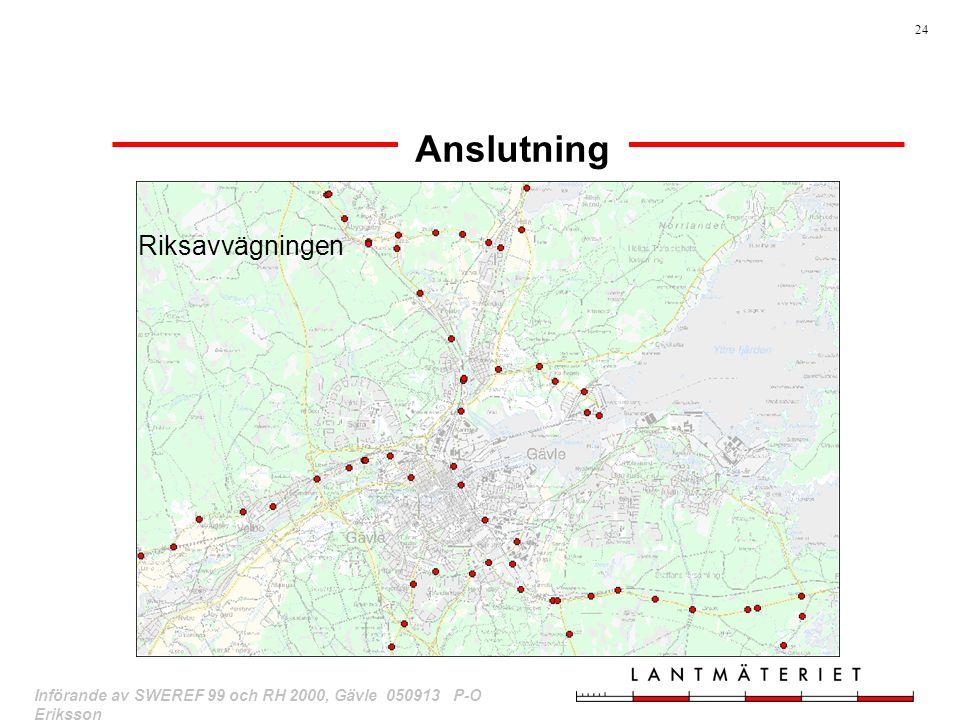 24 Införande av SWEREF 99 och RH 2000, Gävle 050913 P-O Eriksson Anslutning Riksavvägningen