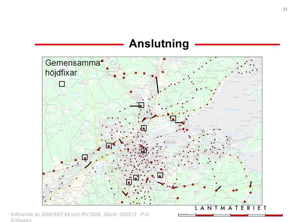 25 Införande av SWEREF 99 och RH 2000, Gävle 050913 P-O Eriksson Anslutning Gemensamma höjdfixar