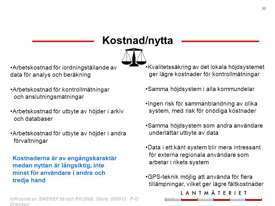 30 Införande av SWEREF 99 och RH 2000, Gävle 050913 P-O Eriksson Kostnad/nytta Arbetskostnad för iordningställande av data för analys och beräkning Ar