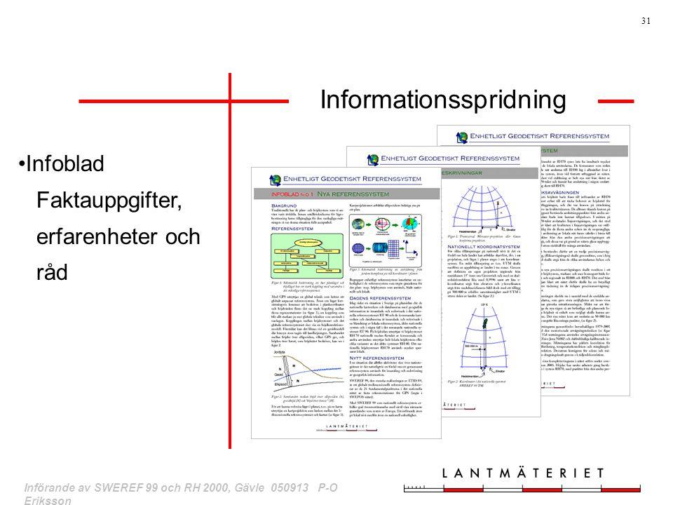 31 Införande av SWEREF 99 och RH 2000, Gävle 050913 P-O Eriksson Infoblad Faktauppgifter, erfarenheter och råd Informationsspridning