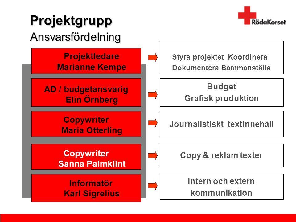 Projektgrupp Projektledare Marianne Kempe AD / budgetansvarig Elin Örnberg Informatör Karl Sigrelius Budget Grafisk produktion Styra projektet Koordin