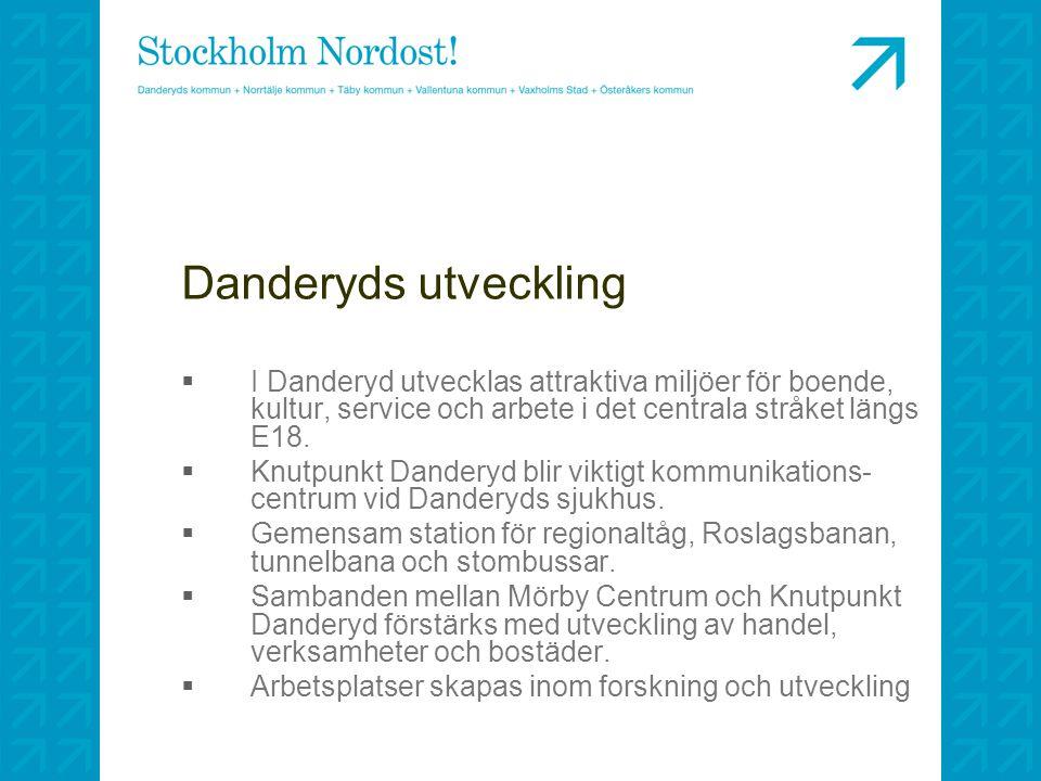 Danderyds utveckling  I Danderyd utvecklas attraktiva miljöer för boende, kultur, service och arbete i det centrala stråket längs E18.  Knutpunkt Da