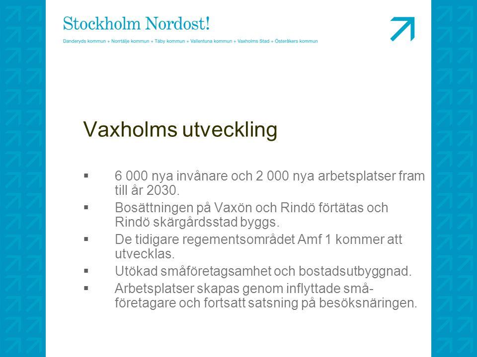 Vaxholms utveckling  6 000 nya invånare och 2 000 nya arbetsplatser fram till år 2030.  Bosättningen på Vaxön och Rindö förtätas och Rindö skärgårds