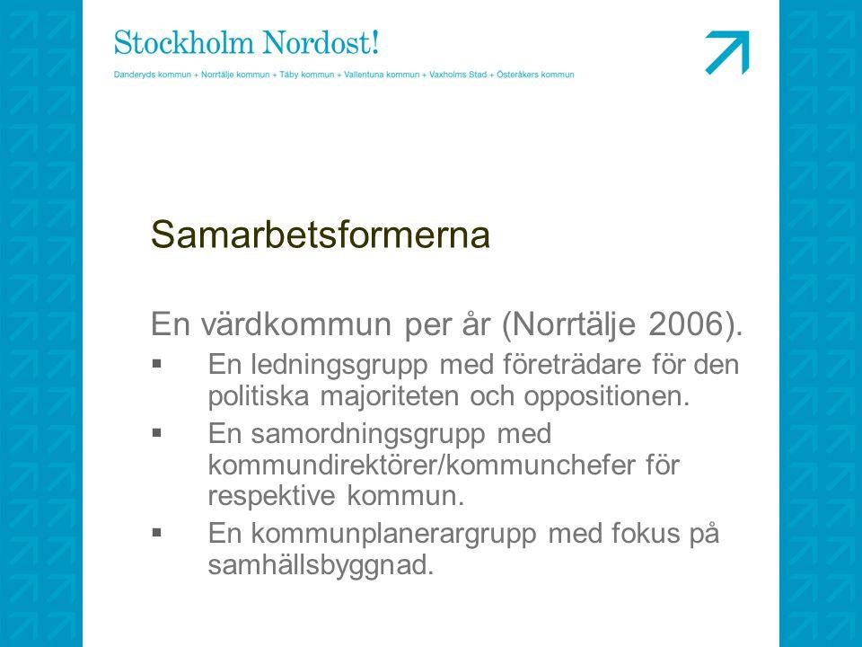 Samarbetsformerna En värdkommun per år (Norrtälje 2006).  En ledningsgrupp med företrädare för den politiska majoriteten och oppositionen.  En samor