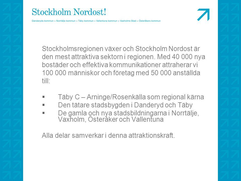 Stockholmsregionen växer och Stockholm Nordost är den mest attraktiva sektorn i regionen. Med 40 000 nya bostäder och effektiva kommunikationer attrah