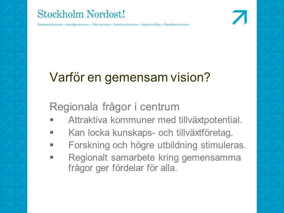 Varför en gemensam vision? Regionala frågor i centrum  Attraktiva kommuner med tillväxtpotential.  Kan locka kunskaps- och tillväxtföretag.  Forskn