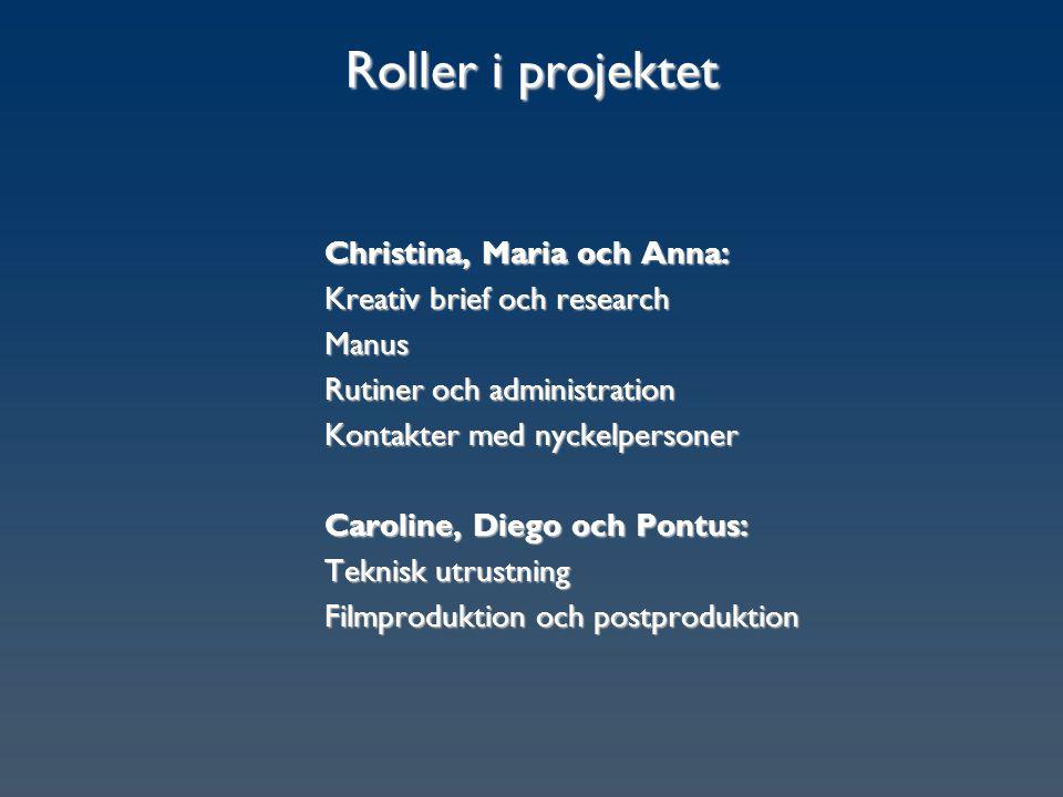 Roller i projektet Christina, Maria och Anna: Kreativ brief och research Manus Rutiner och administration Kontakter med nyckelpersoner Caroline, Diego