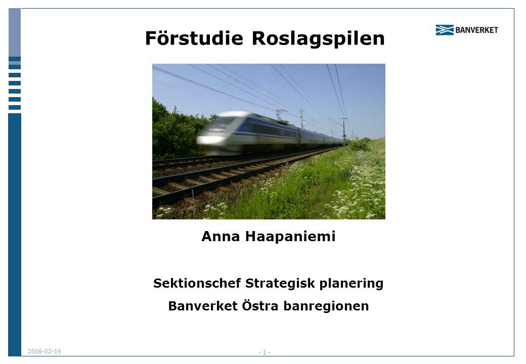 2006-02-16 - 1 - Förstudie Roslagspilen Anna Haapaniemi Sektionschef Strategisk planering Banverket Östra banregionen