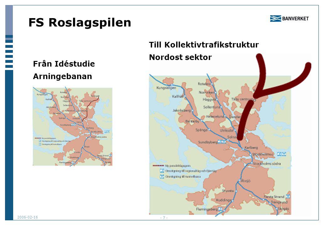 2006-02-16 - 7 - FS Roslagspilen Från Idéstudie Arningebanan Till Kollektivtrafikstruktur Nordost sektor