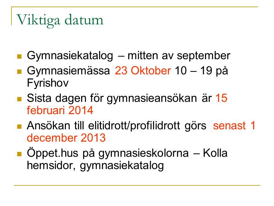 Viktiga datum Gymnasiekatalog – mitten av september Gymnasiemässa 23 Oktober 10 – 19 på Fyrishov Sista dagen för gymnasieansökan är 15 februari 2014 A