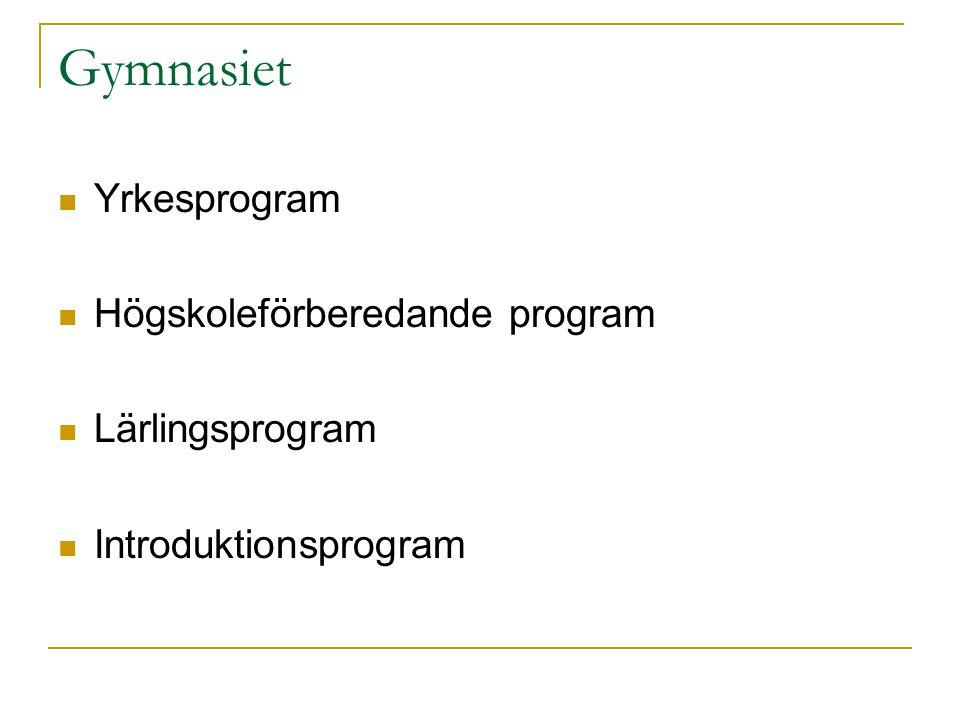 Gymnasiet Yrkesprogram Högskoleförberedande program Lärlingsprogram Introduktionsprogram